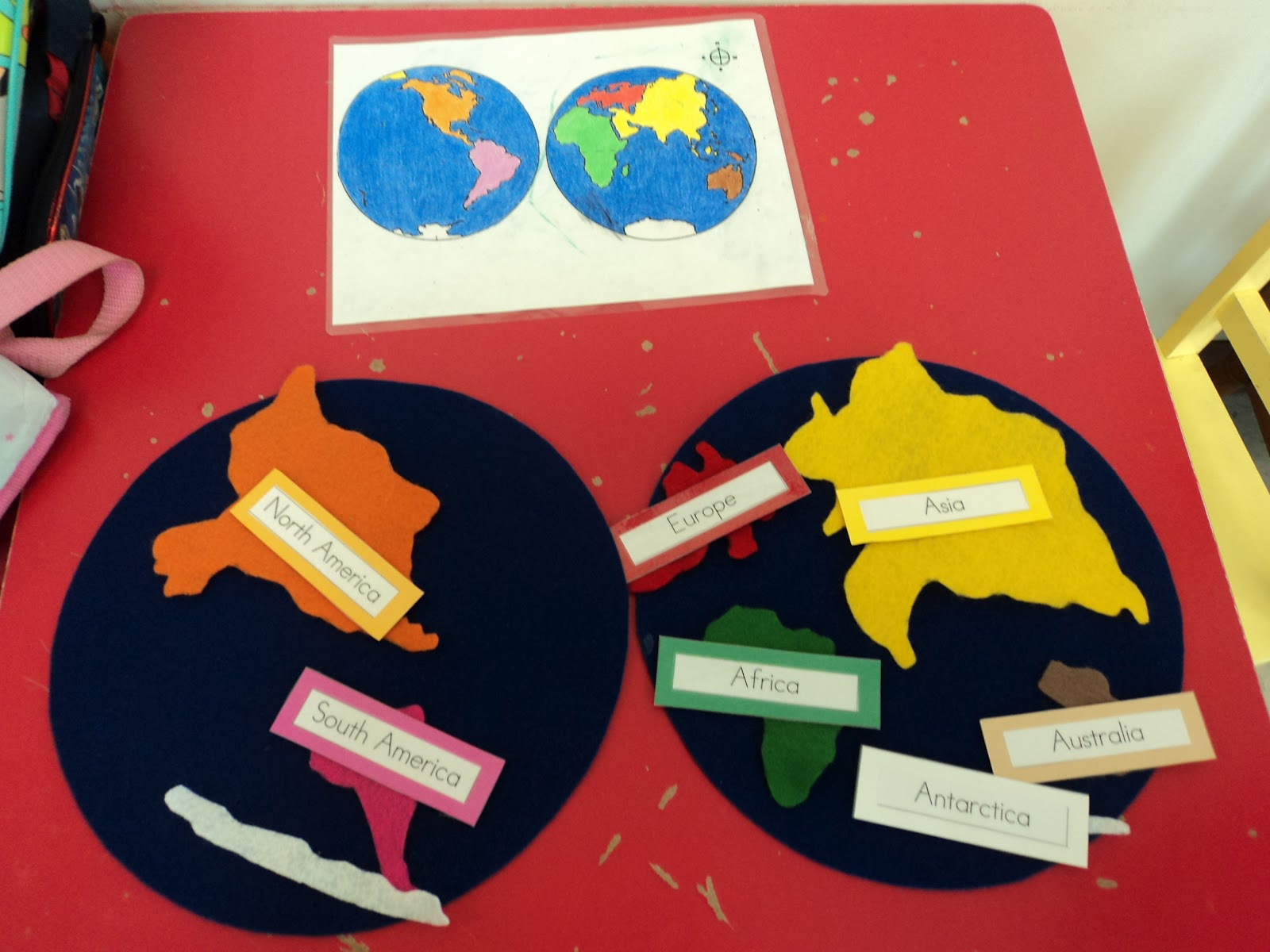 Crazy about montessori felt continents i traced pieces from the world map puzzle onto felt the 2 big blue circles that represent the hemispheres are made out of stiff felt gumiabroncs Images