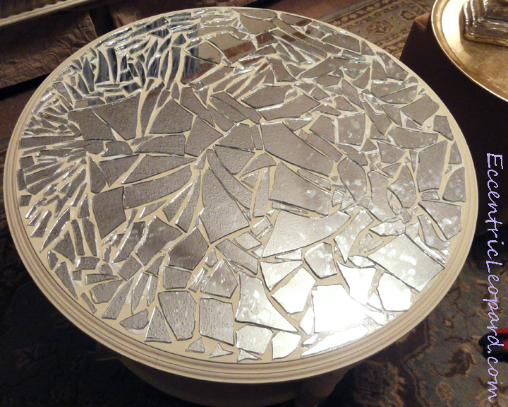 The eccentric leopard mirror mosaic table diy once all the pieces are glued in place you need to wait for the adhesive to dry this is important otherwise your mirror pieces will move when you apply solutioingenieria Gallery