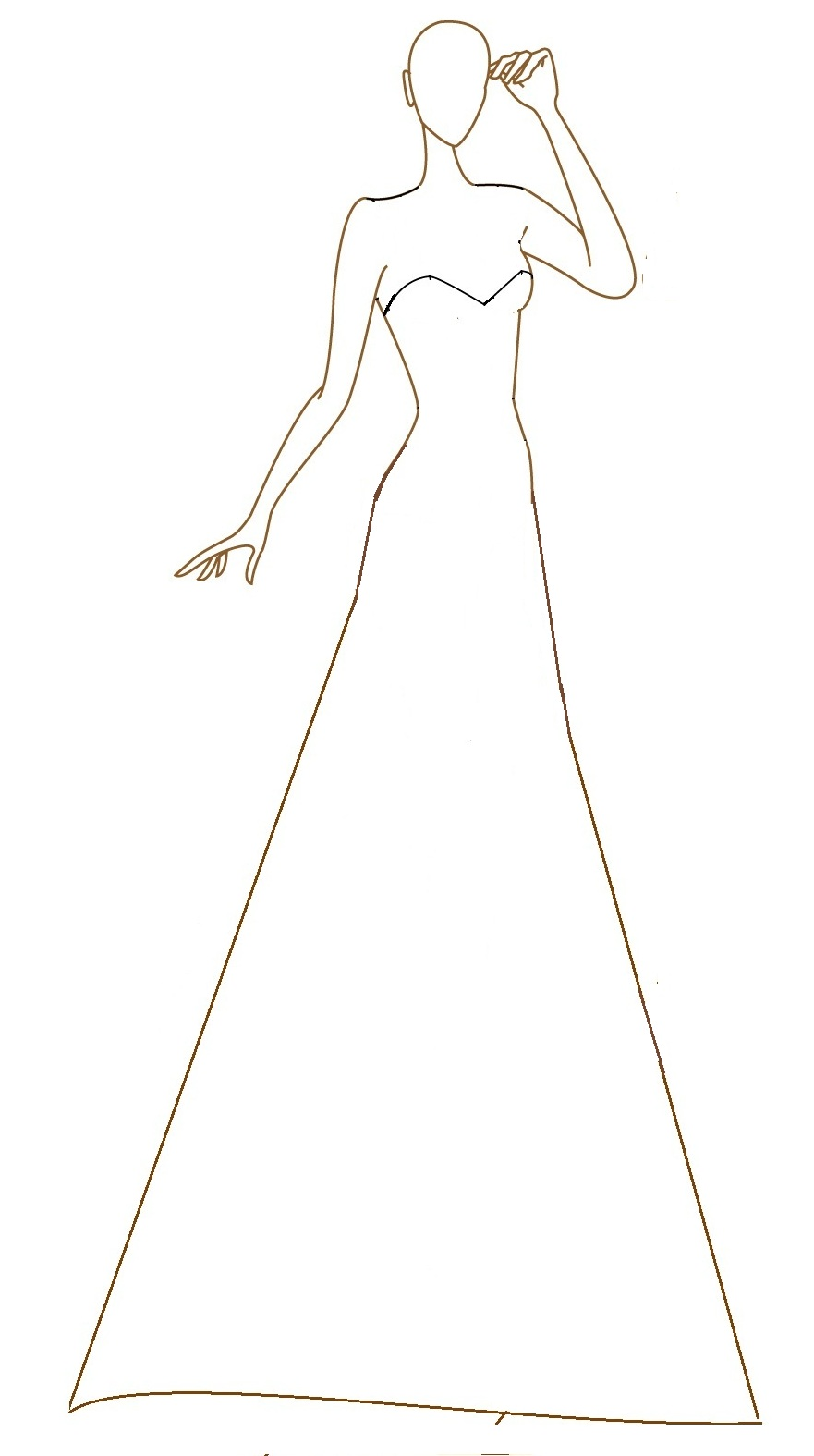 Dress Outline Sketch Wedding Dress Sketch Templates