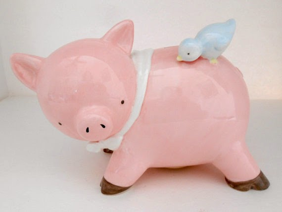 Vintage, Pink Ceramic Piggy Bank/Blue Bird on Back, White Scarf, Mid-Century Decor, Baby Shower Gift, Baby Nursery Decor, Collectibles, PMT