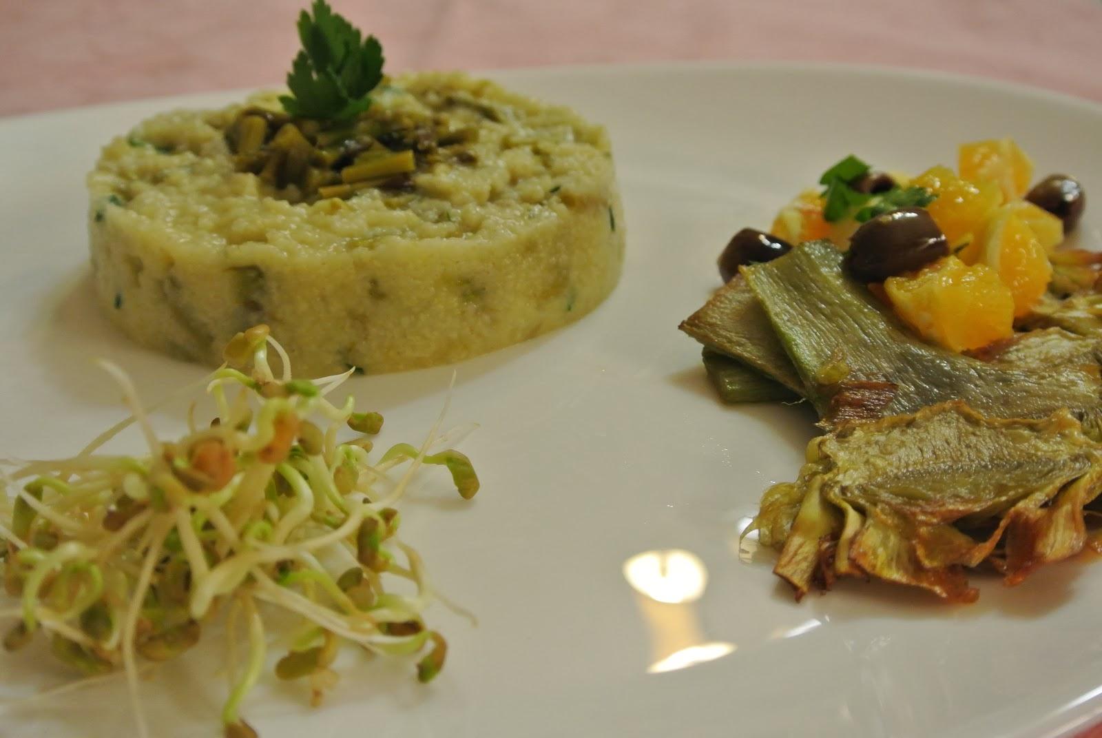 tortino di miglio con asparagi selvatici, carciofi fritti, arancia con olive taggiasche