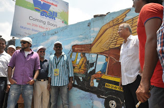 MNS leader Nitin Sardesai & Pogo Channel's anchor Rob appreciate Hemant Sonawane's Wall Art