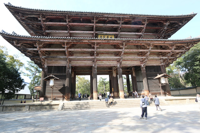 Nan-dai-mon (the Great Southern Gate) of Todai-ji Temple is popular for Buddhist statues over 8 metres tall at Nara Park, Japan