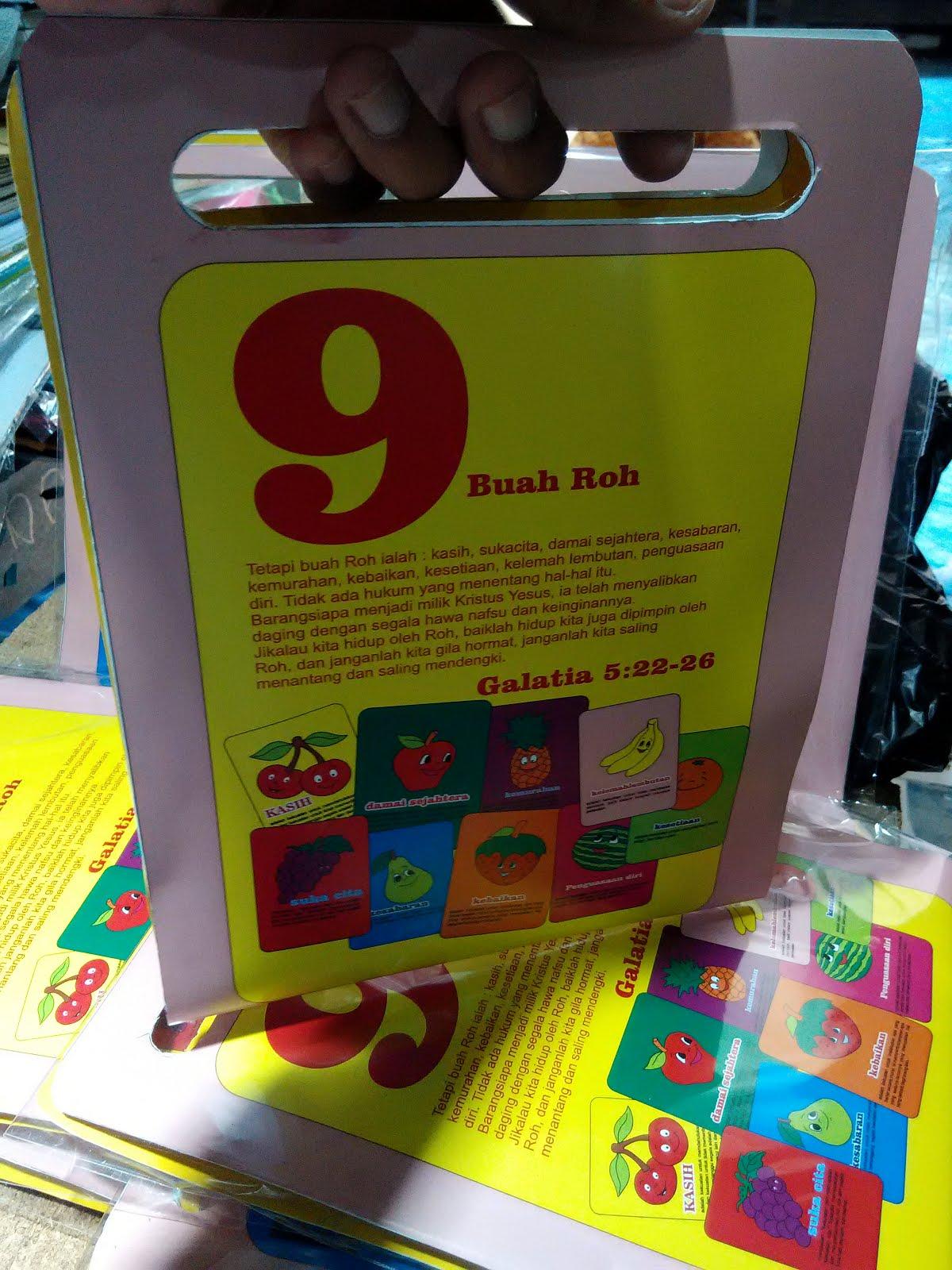 Kartu bingo 9 buah roh dan 7 sakramen gereja