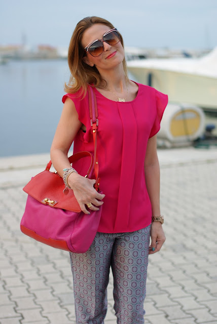 Zara fuchsia top, Asos geo print trousers, Marc by Marc Jacobs color block bag, Fashion and Cookies