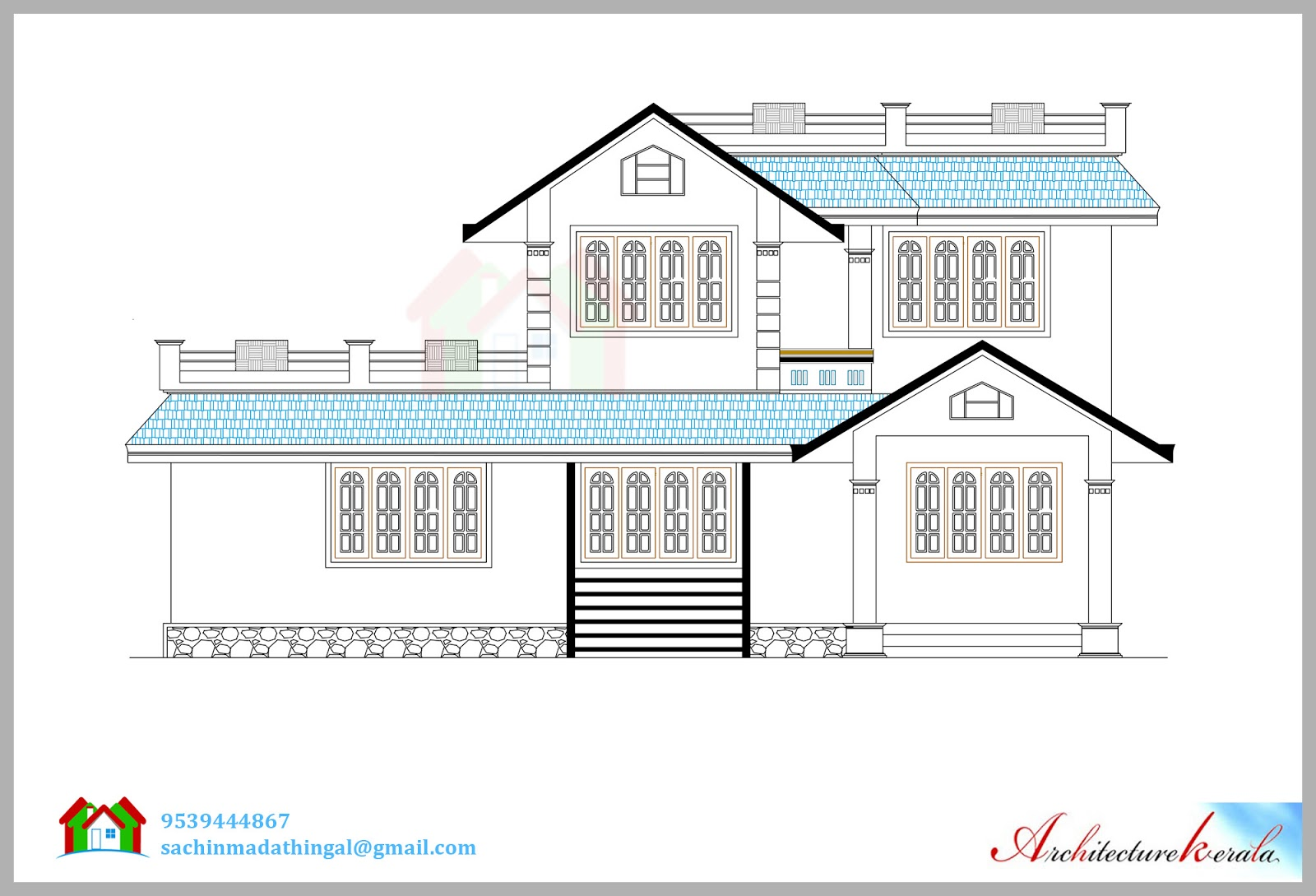 House Elevation Blueprint : Square feet house plan and its d elevation