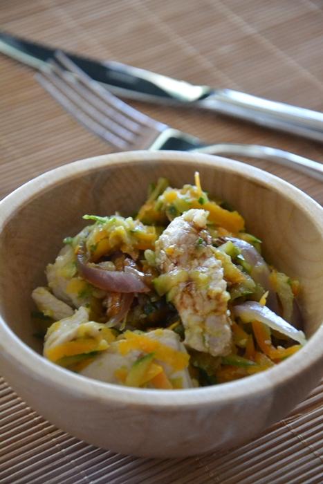 straccetti di lonza alle verdure stufate con aceto balsamico