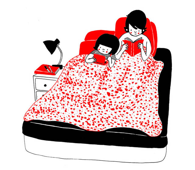 Heartwarming Illustrations Show That True Love Is In The Little Everyday Things - Happiness is when both of you read in bed after an exceptionally tiring day
