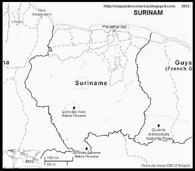 Mapa de SURINAM, Google Maps, blanco y negro