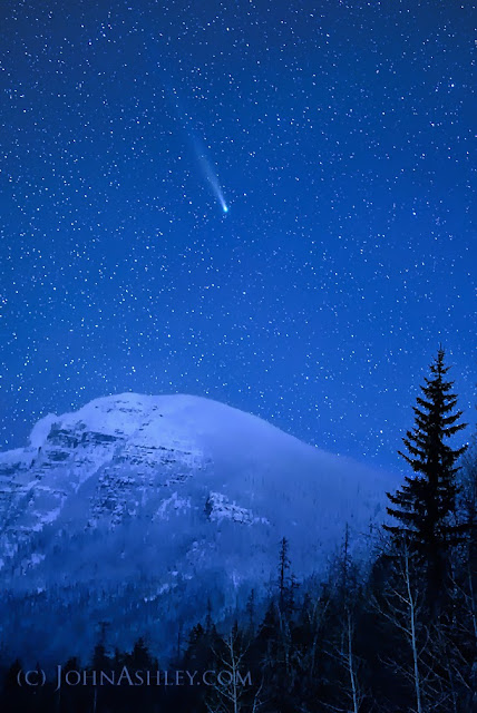 Comet Lovejoy over Glacier Park December 7, 2013 (c) John Ashley