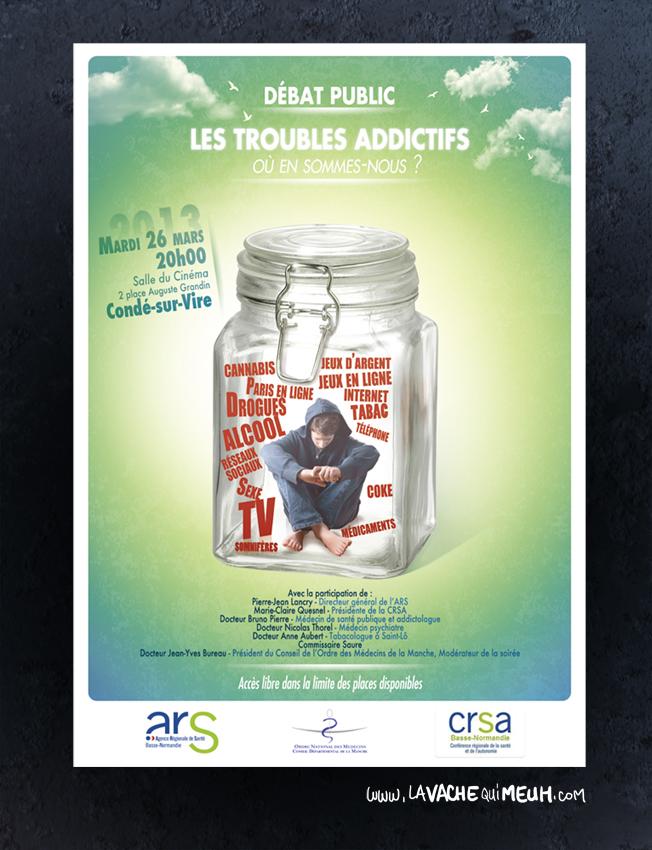 affiche crée pour un débat publique sur l'addiction et les trouble addictifs