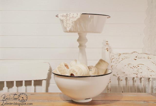 Repurposed Vintage Enamelware Bowl Tiered Stand via Knick of Time