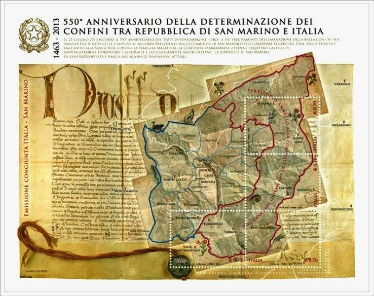 Foglietto celebrativo del 550° anniversario della definizione dei confini della Repubblica di San Marino