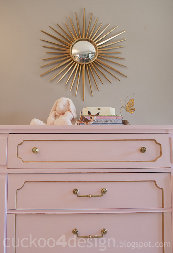 pink and gold nursery dresser by cuckoo4design