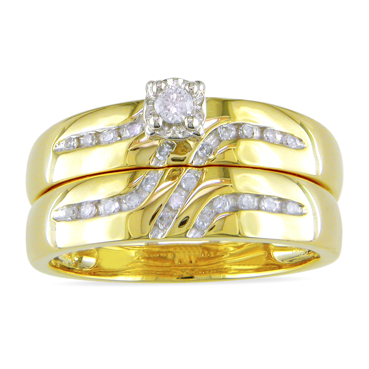 the charm of the yellow and white gold engagement rings