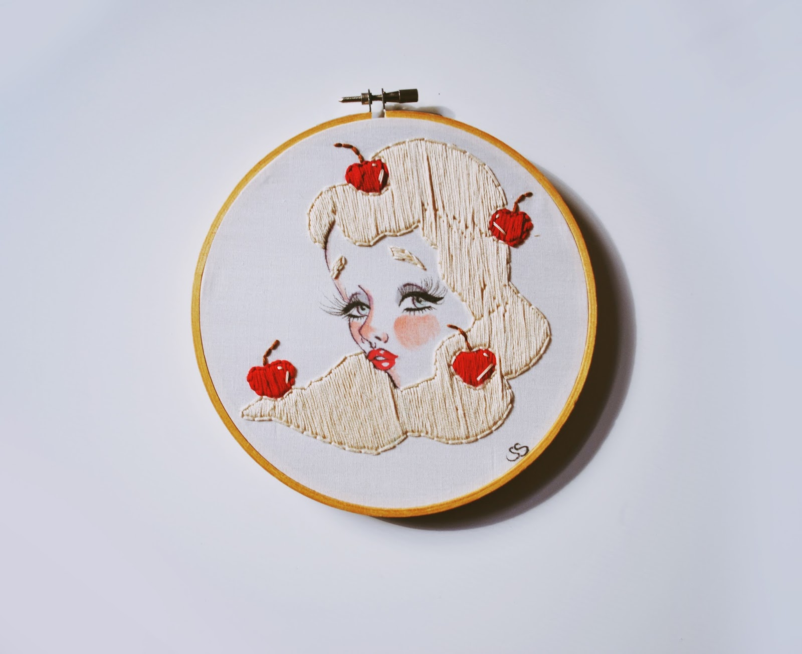 Hand Embroidered Cherry Girl Illustration