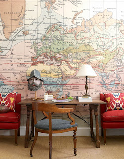 decorar paredes mapas