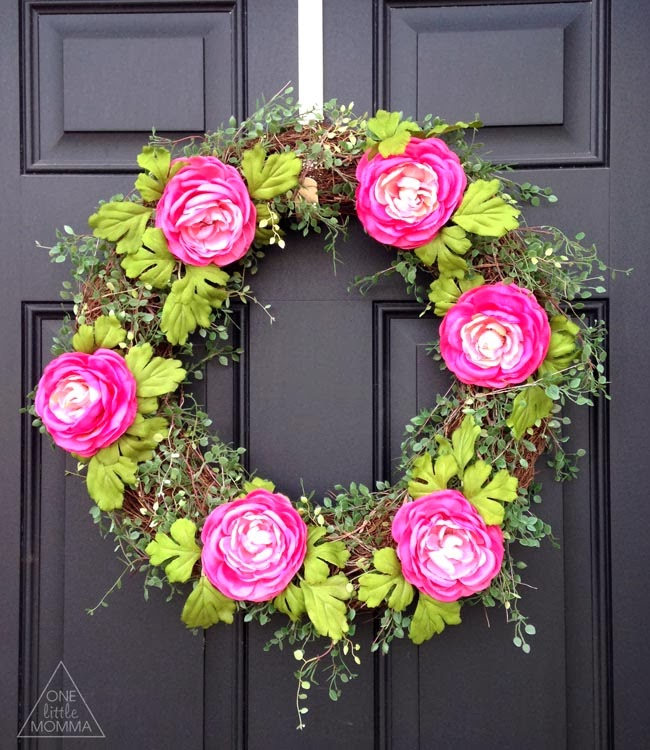 Pink Spring Ranunculus Wreath-tutorial