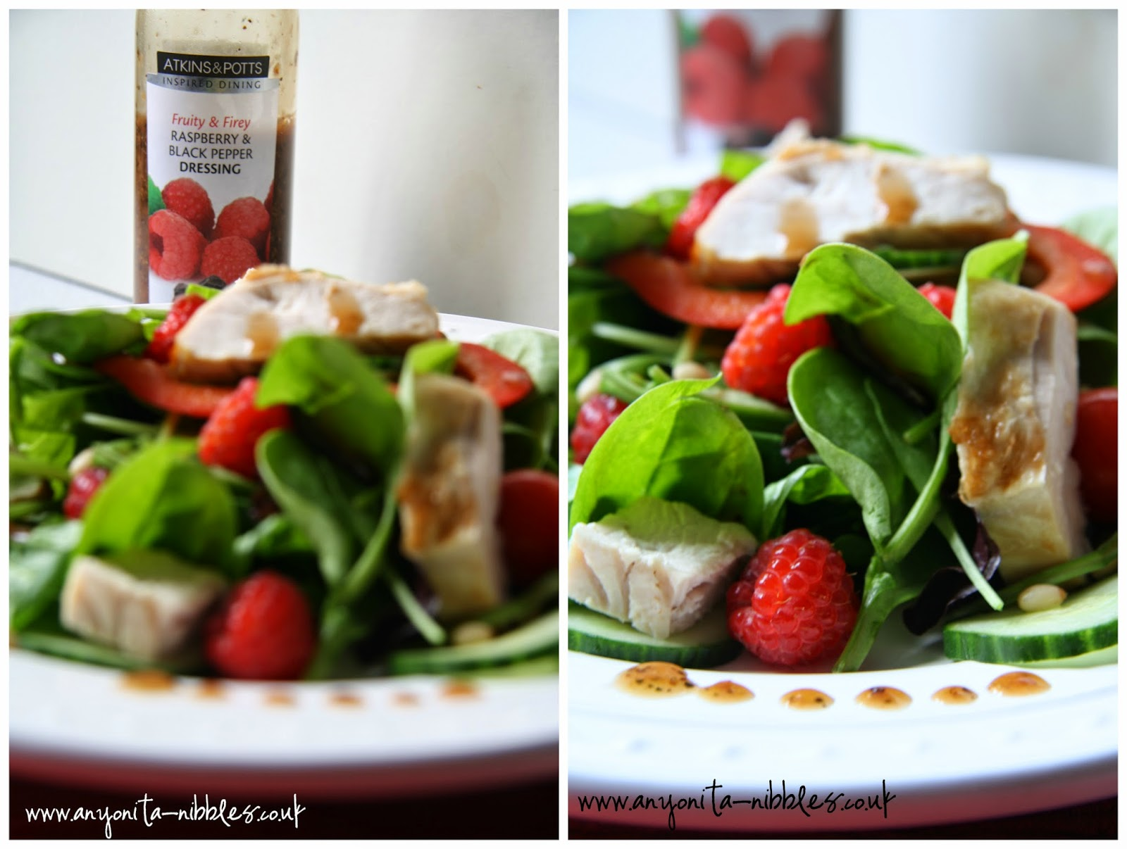 Atkins & Potts black pepper & raspberry dressing on salad from www.anyonita-nibbles.co.uk