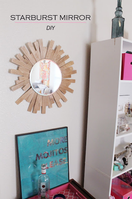 starburst mirror, DIY, mirror, homemade, craft, bar car, inexpensive, project, sunburst mirror, pink, A Hammer & Heels