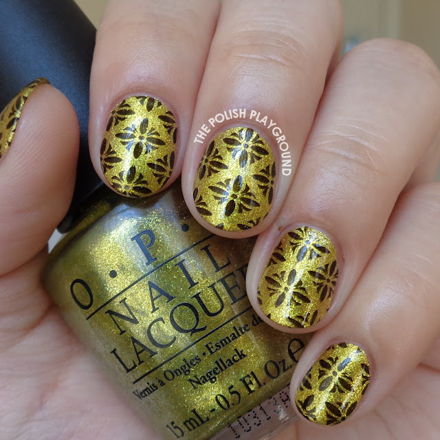 Yellow Green Foil with Black Pattern Stamping Nail Art