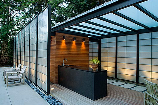 western home decorating: translucent wall design modern pool