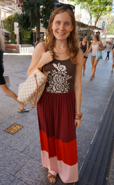 Brown printed tank asos colour block maxi skirt Brisbane city shopping outfit