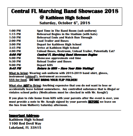 Central FL Marching Band Showcase 2018