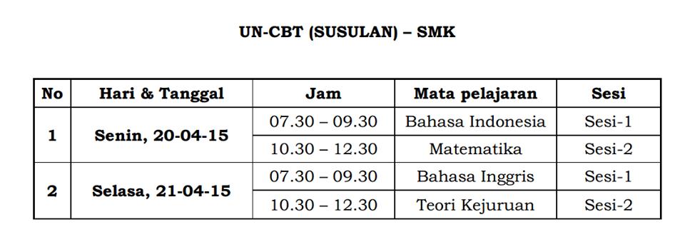 Jadwal UN-CBT SMK 2015 susulan