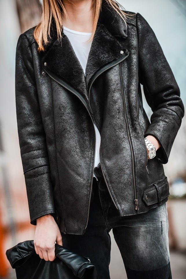 black shearling jacket promod, fashion blog blogger, style blogger