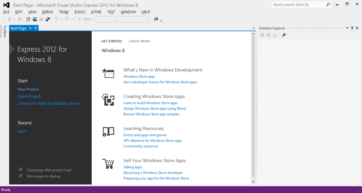 home page in Microsoft Visual Studio for Windows 8