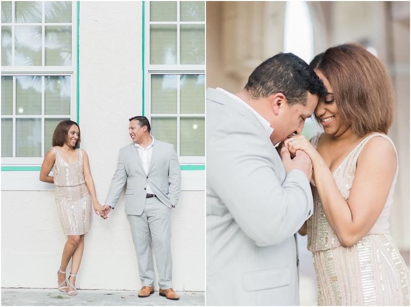 old school square wedding engagement photo