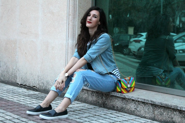 denim jacket, boyfriend jeans, stripes, valentino bag, distressed jeans