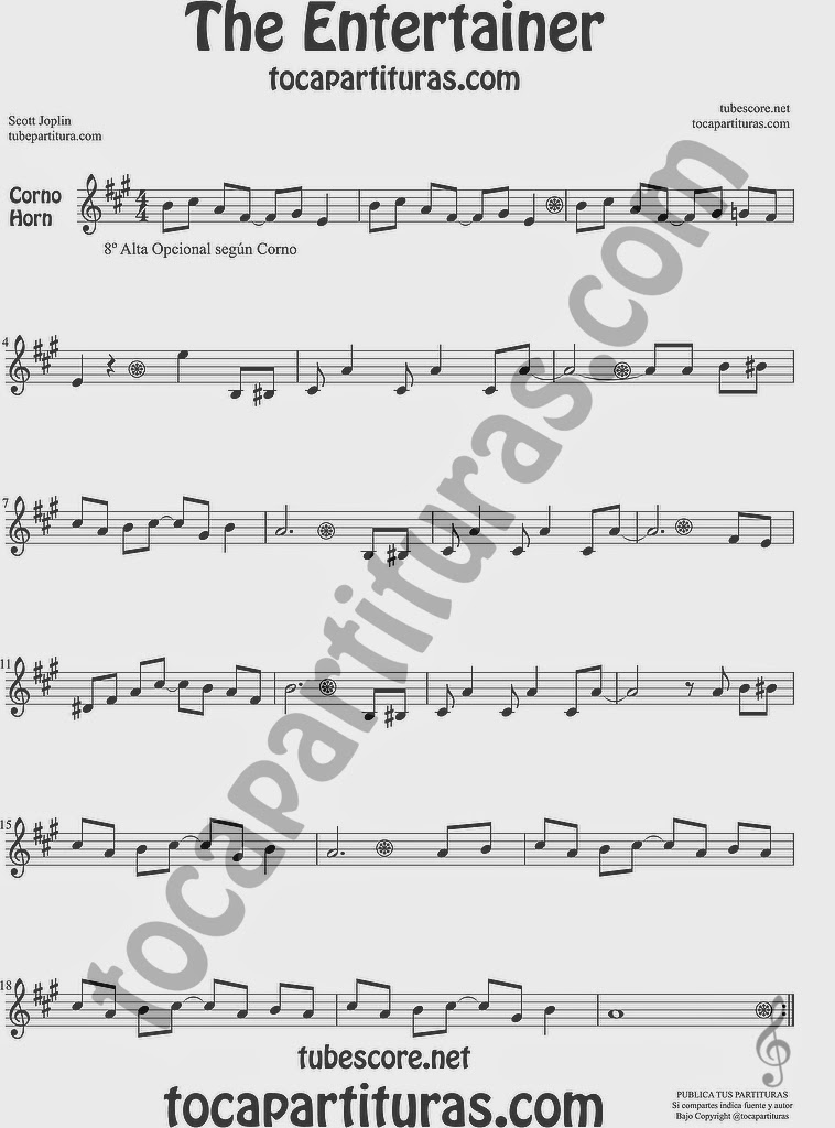 The Entertainer Partitura de Trompa y Corno Francés en Mi bemol Sheet Music for French Horn Music Scores