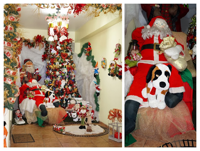 Papai Noel, cachorro e árvore de Natal - casa decorada para o Natal - rua Álvaro Alvim, cidade de Santos