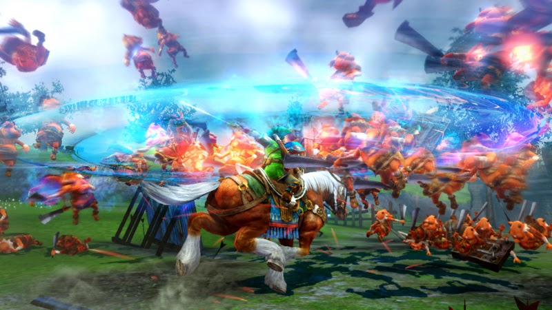 Image of Link riding Epona the horse in Hyrule Warriors. The hero is swinging his sword and enemies are flying through the air. The setting is a large green field, and the blue sky can be seen above.