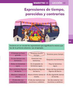 Apoyo Primaria Español 2do grado Bloque 3 lección 16 Expresiones de tiempo, parecidas y contrarias
