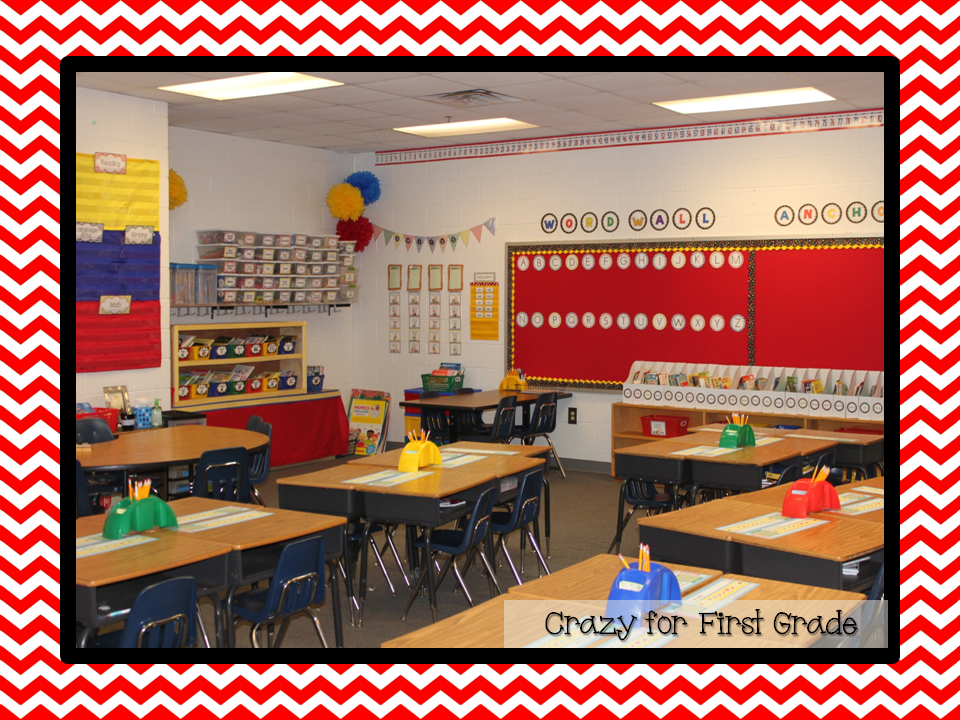 Classroom Decor Colors ~ Crazy for first grade classroom reveal w lots of freebies