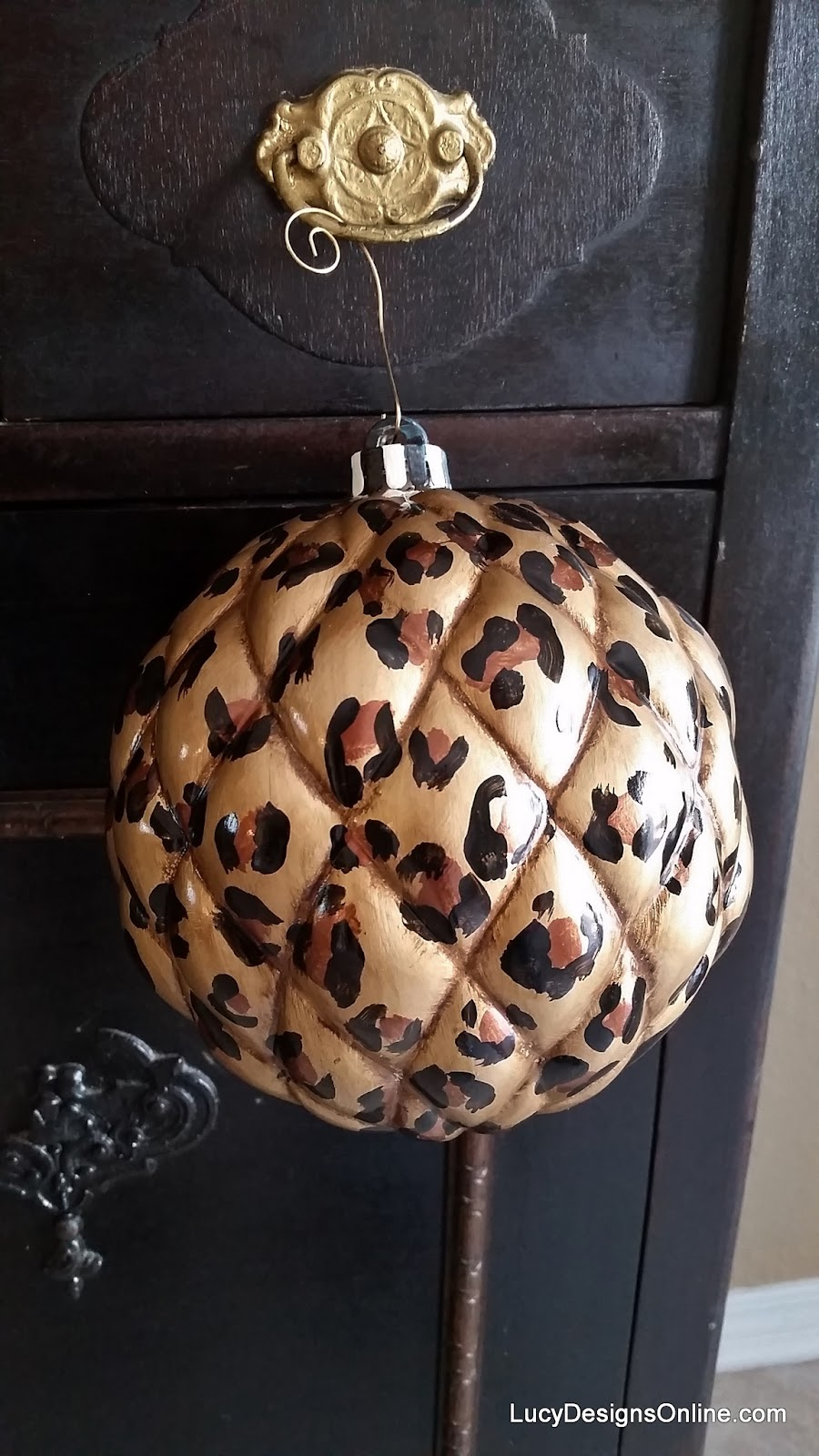 large quilted animal print ornament