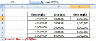contoh data rumsu excel value