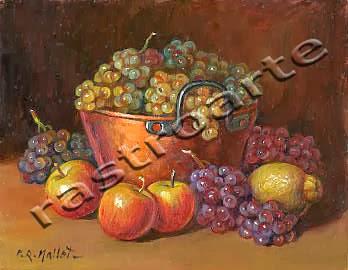 Bodegón con caldera de cobre, manzanas, limón y uvas