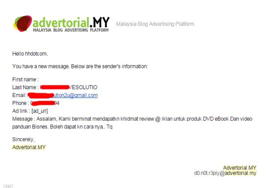 Pengiklan hubungi blogger untuk pengiklanan advertorial