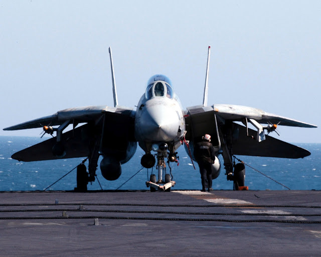 A plane captain conducts a daily inspection of his F-14D Tomcat