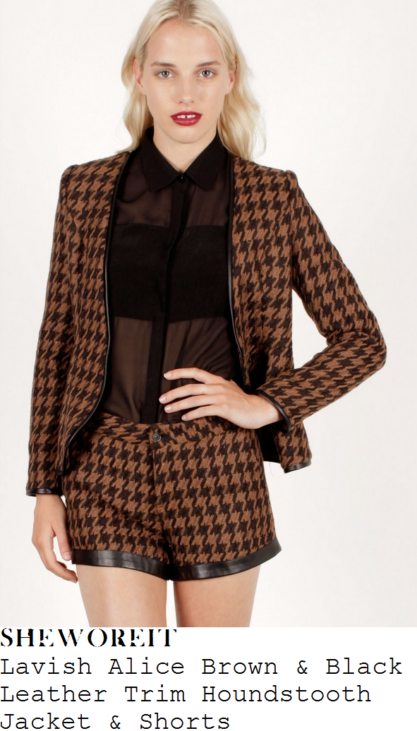 sam-faiers-brown-and-black-houndstooth-print-blazer-jacket-and-shorts-towie