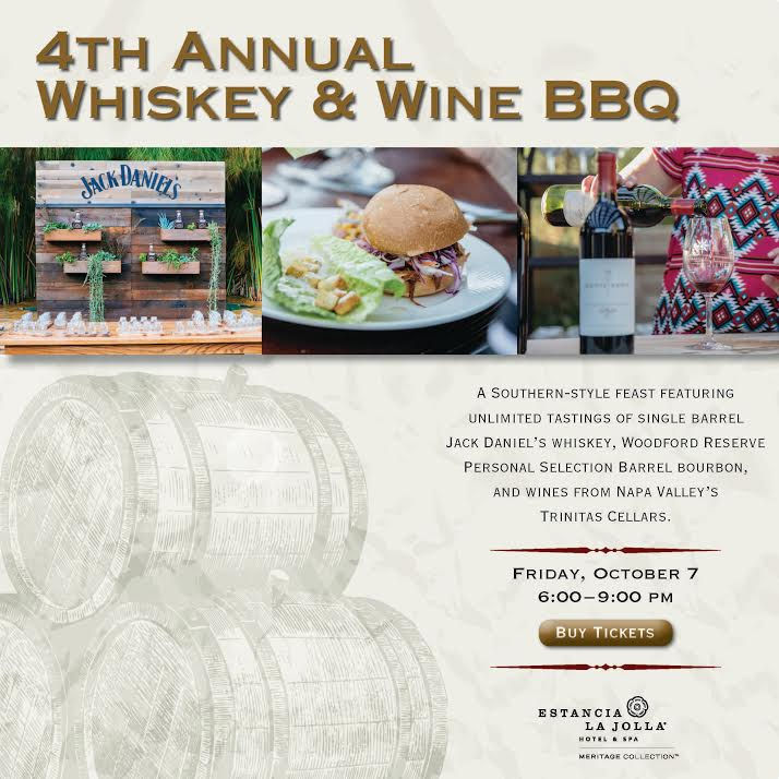 Promo code SDVILLE saves $10 per ticket to Estancia La Jolla's Whiskey & Wine BBQ - October 7