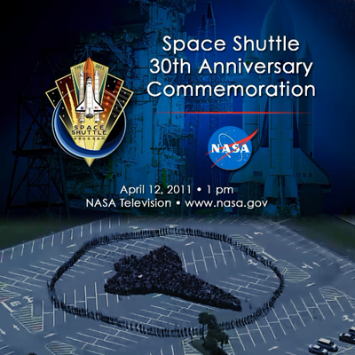 Space Shuttle's 30th Anniversary Commemoration and people at Kennedy Space Centre forming a human shape of the Shuttle, 12 April 2011.