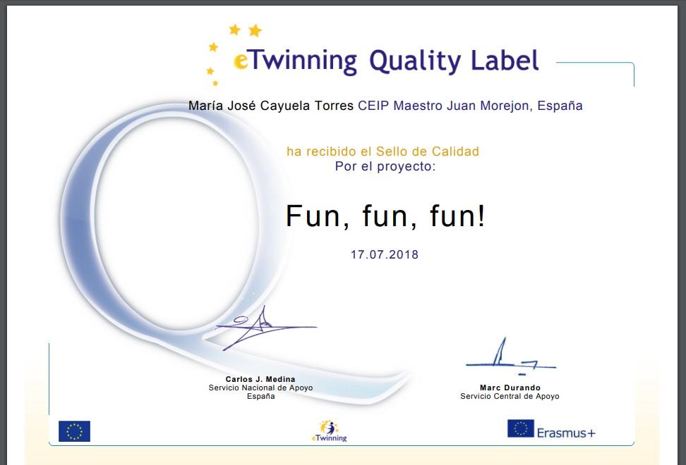 """Sello Calidad eTwinnig al proyecto """"Fun, fun, fun""""."""