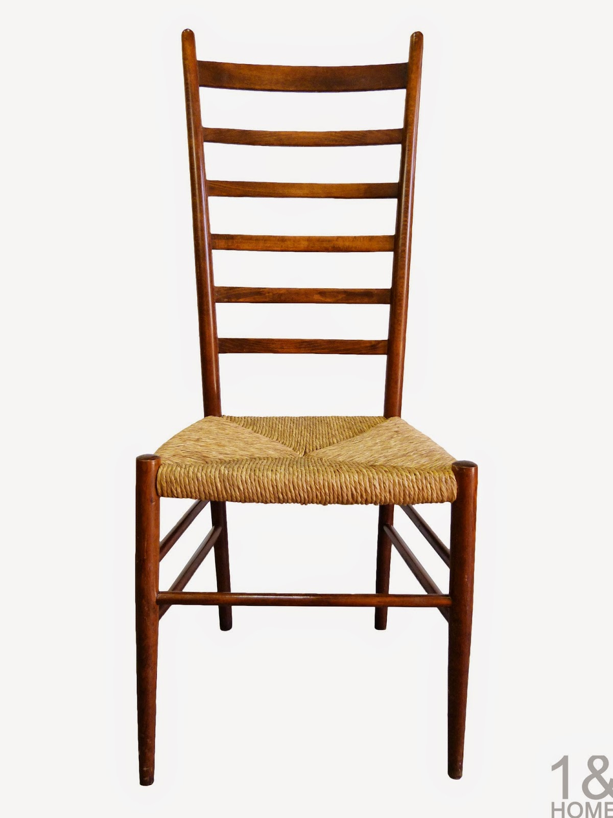Gio-Ponti Style Italy Tall Ladder Back Rush Rope Chair