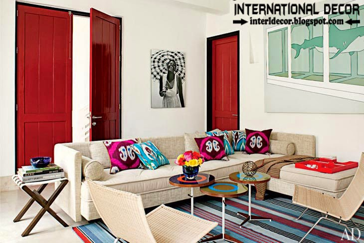 color combinations with red color in the interior, red interior doors