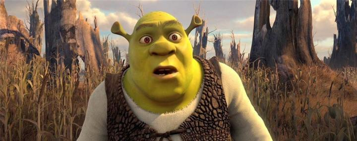 Shrek with a surprised look on his face